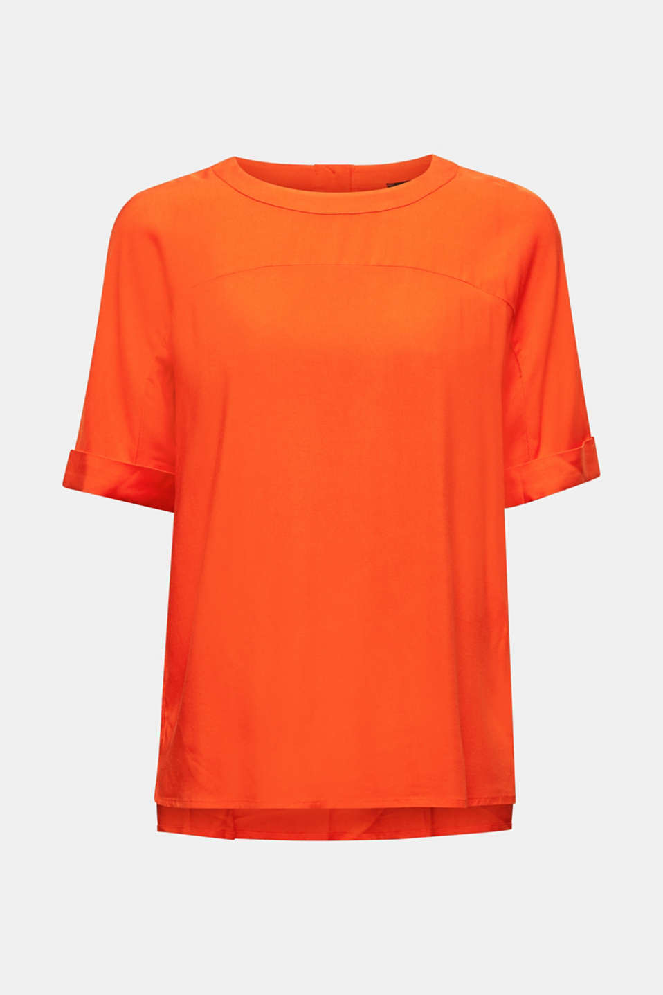 Short sleeve blouse with trendy details, RED ORANGE, detail image number 7