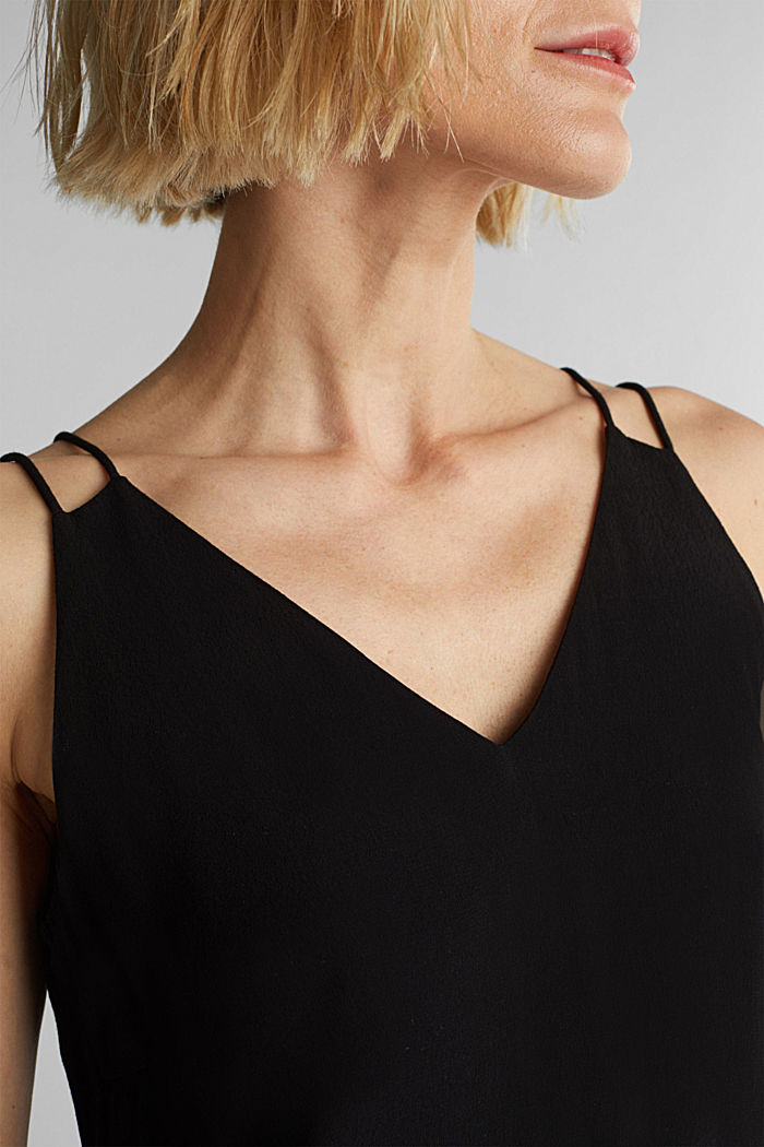 Top met schouderbandjes van LENZING™ ECOVERO™, BLACK, detail image number 2