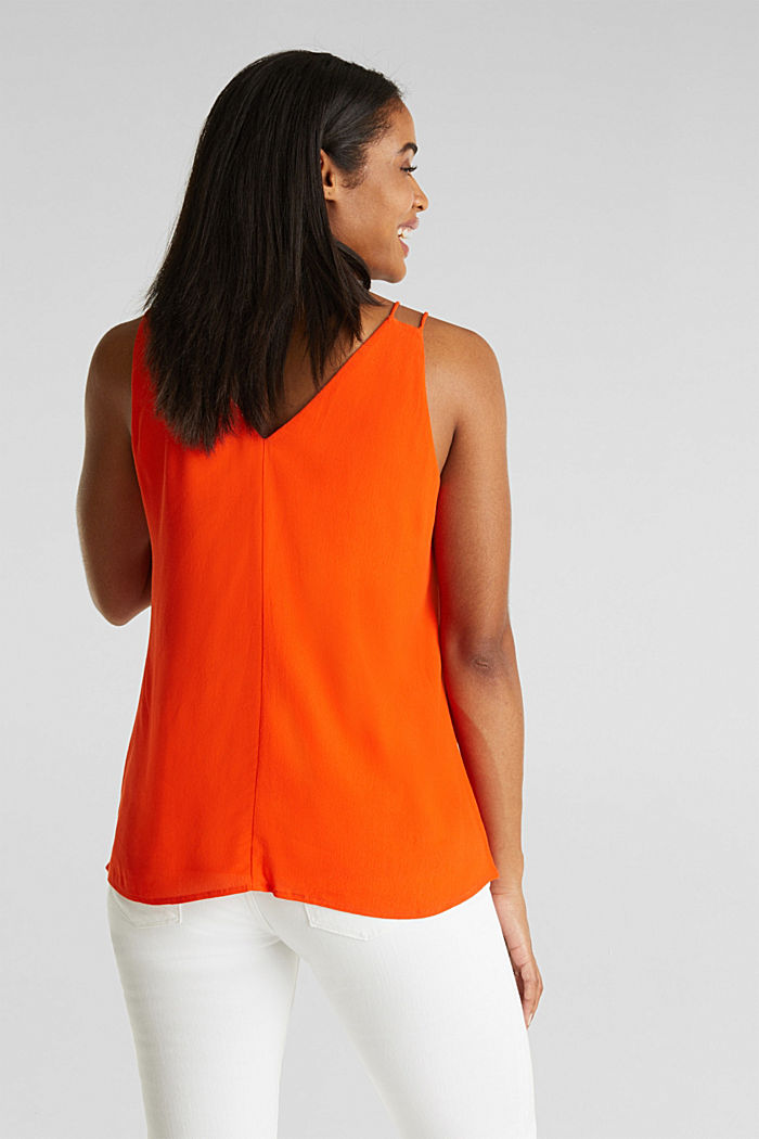 Strappy top made of LENZING™ ECOVERO™, RED ORANGE, detail image number 3
