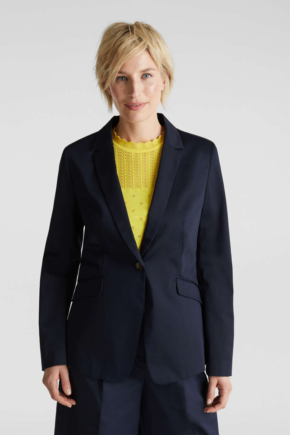 Stretch blazer with a fine sheen, NAVY, detail image number 0