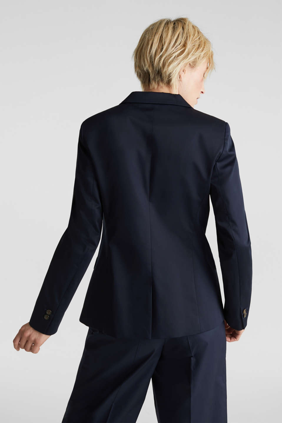 Stretch blazer with a fine sheen, NAVY, detail image number 3