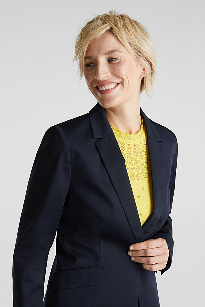 Stretch-Blazer mit feinem Glanz, NAVY, overview
