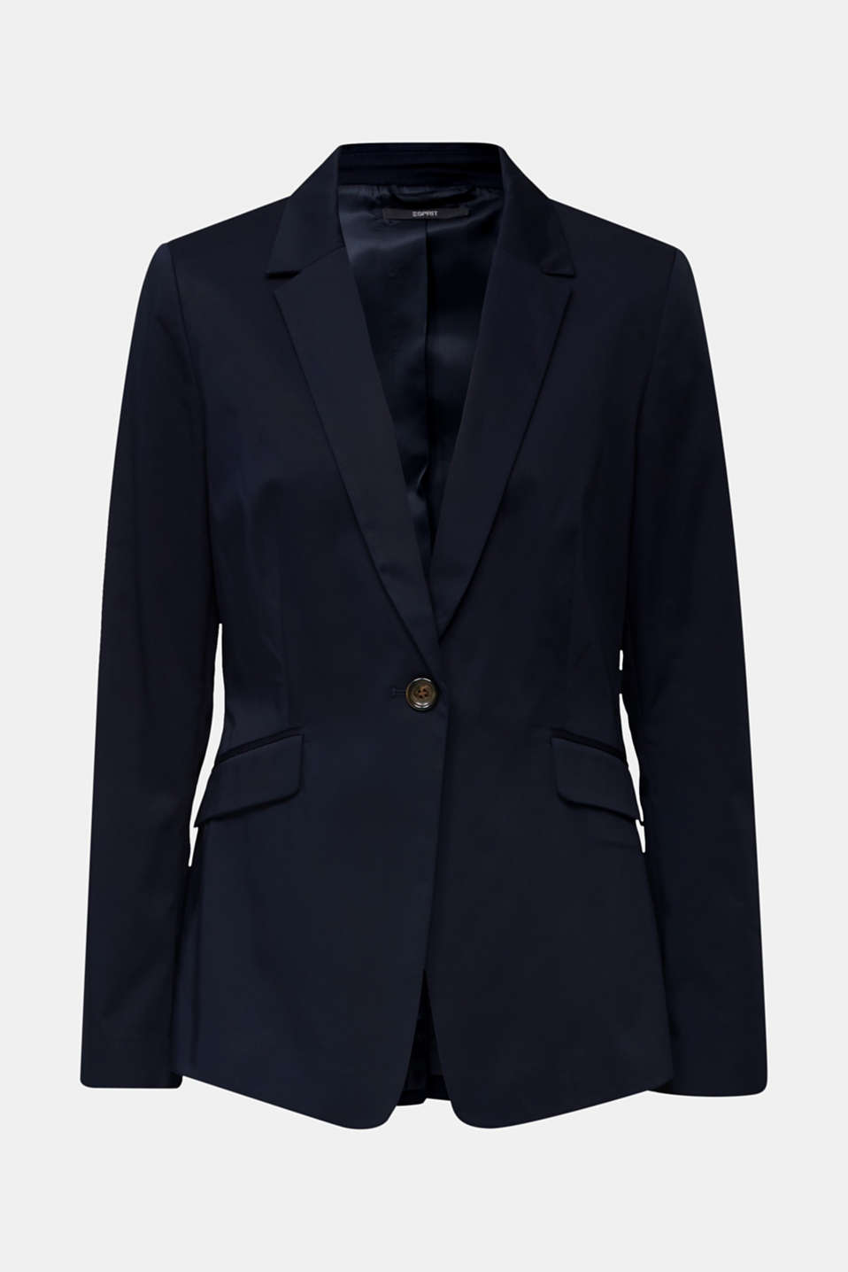 Stretch blazer with a fine sheen, NAVY, detail image number 6