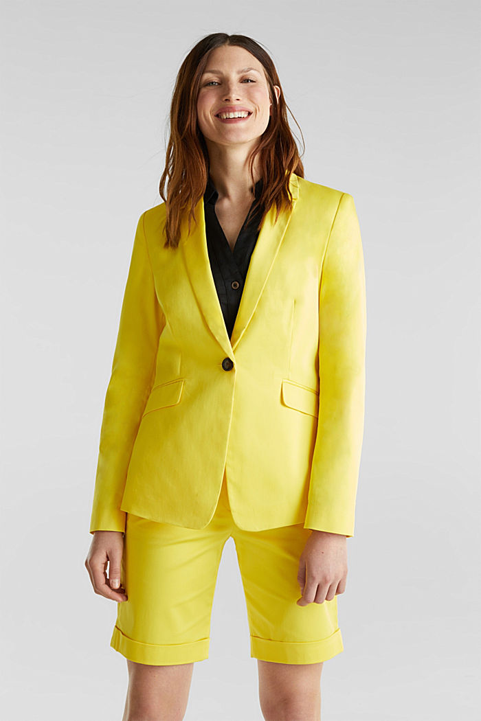 Stretch blazer with a fine sheen, YELLOW, detail image number 0
