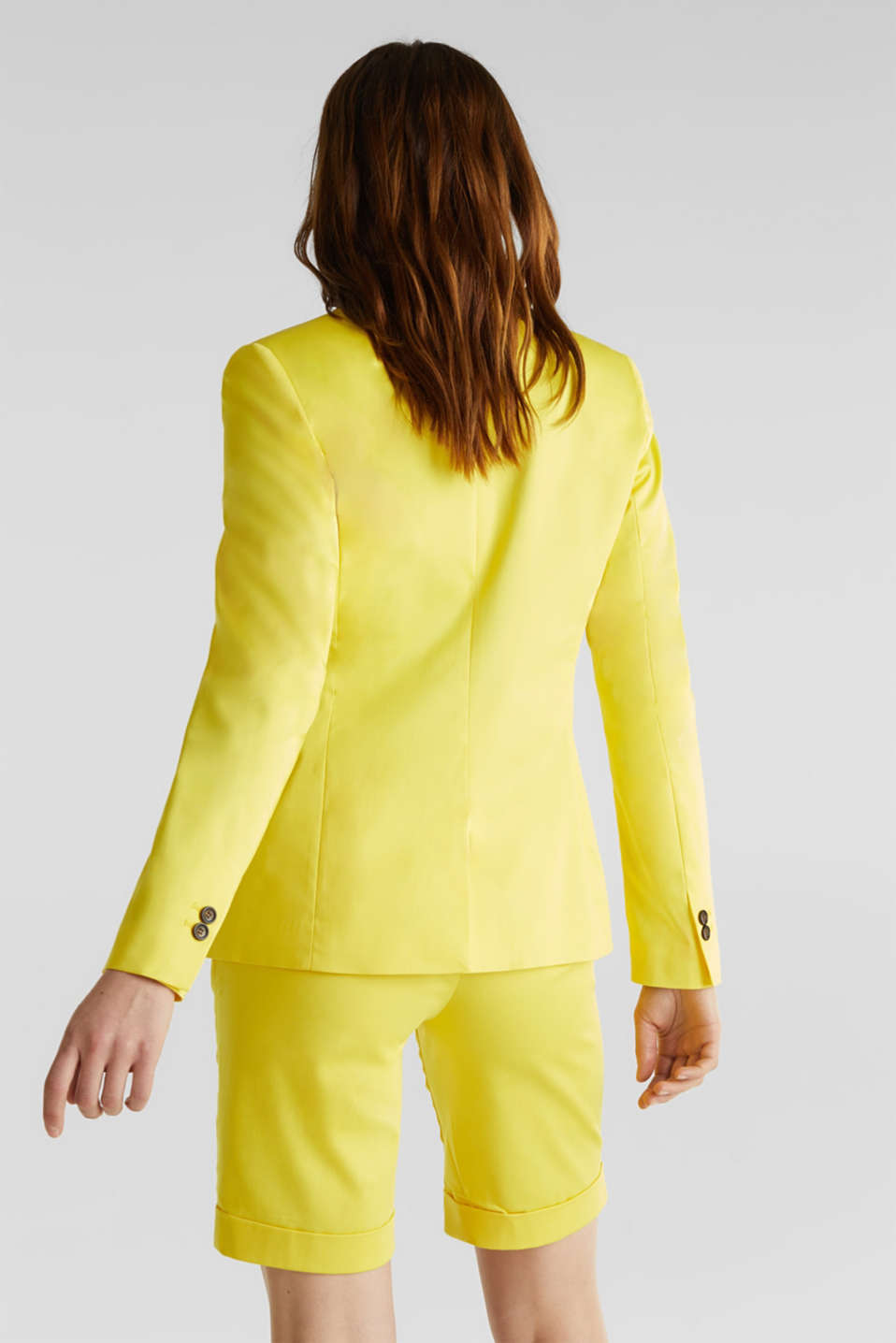Stretch blazer with a fine sheen, YELLOW, detail image number 3