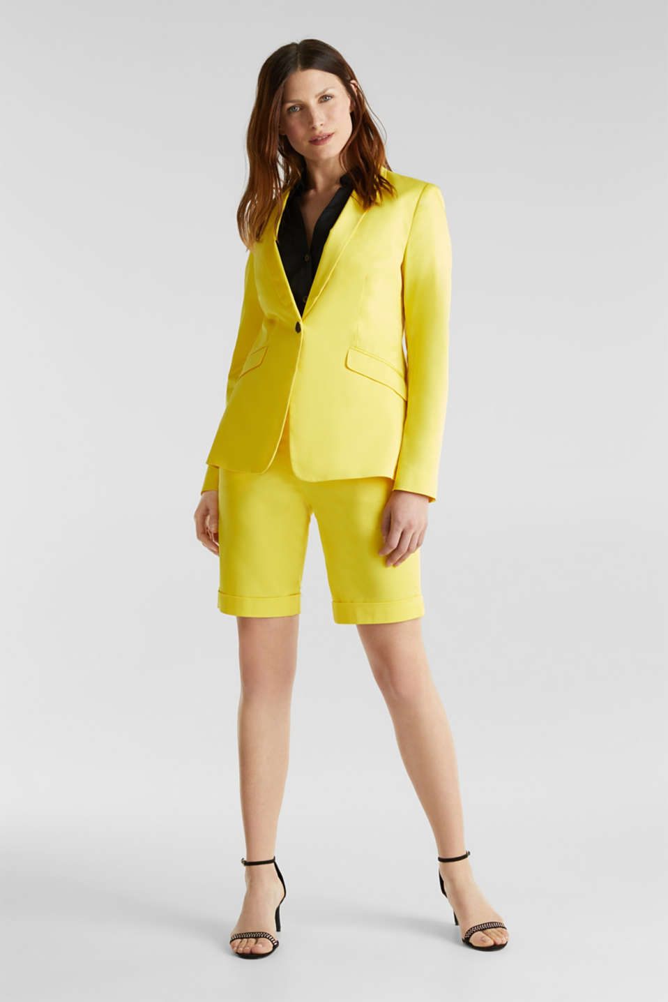 Stretch blazer with a fine sheen, YELLOW, detail image number 1