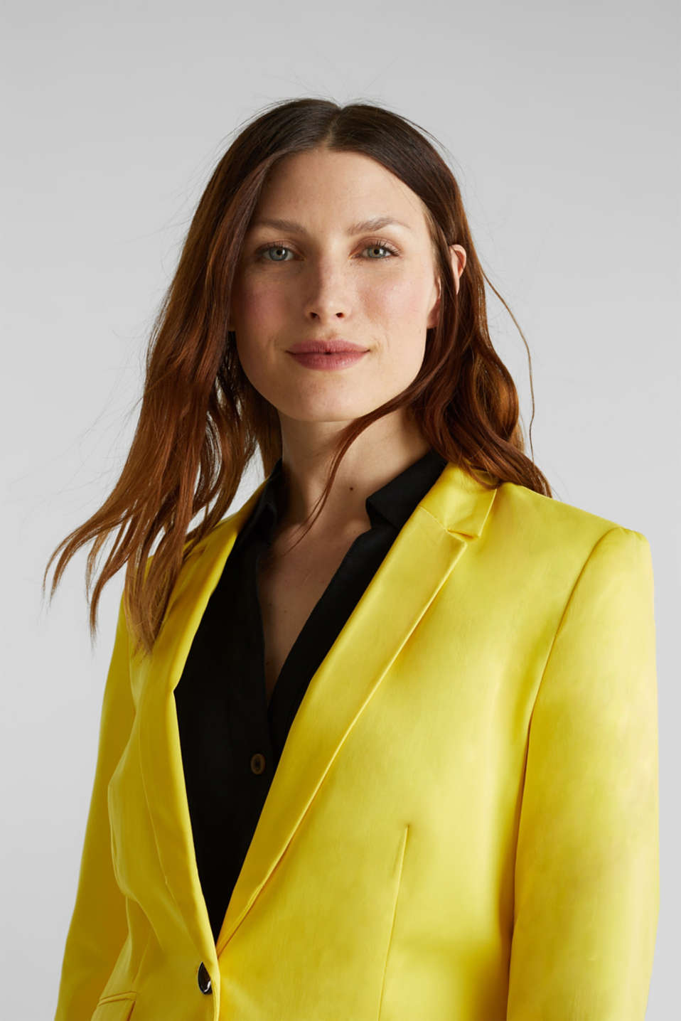 Stretch blazer with a fine sheen, YELLOW, detail image number 5
