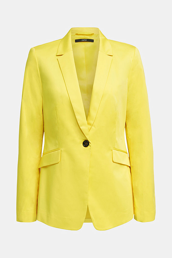 Stretch blazer with a fine sheen, YELLOW, detail image number 6