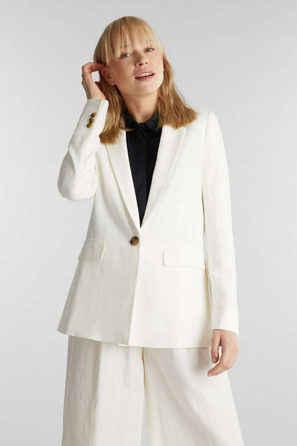 One-button blazer in blended linen, OFF WHITE, detail image number 0
