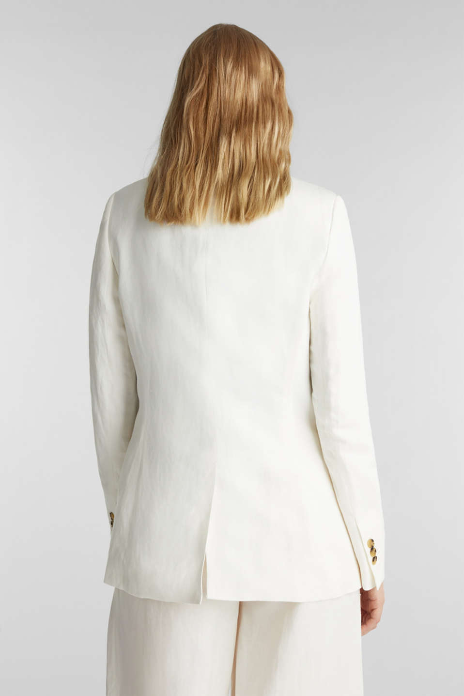 One-button blazer in blended linen, OFF WHITE, detail image number 3