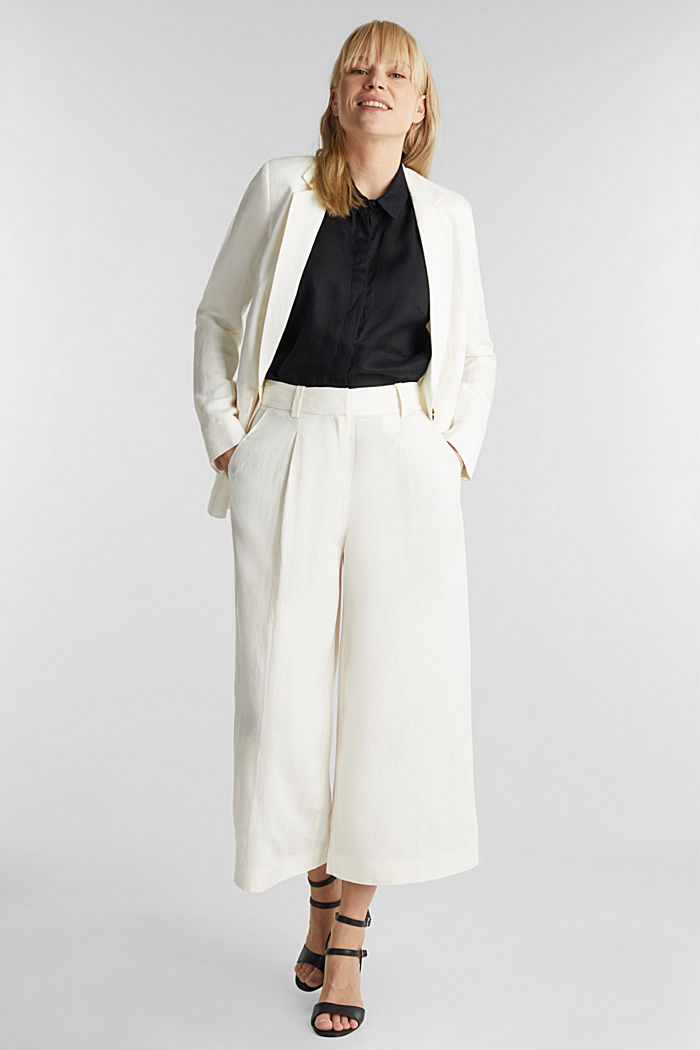 One-button blazer in blended linen, OFF WHITE, detail image number 1