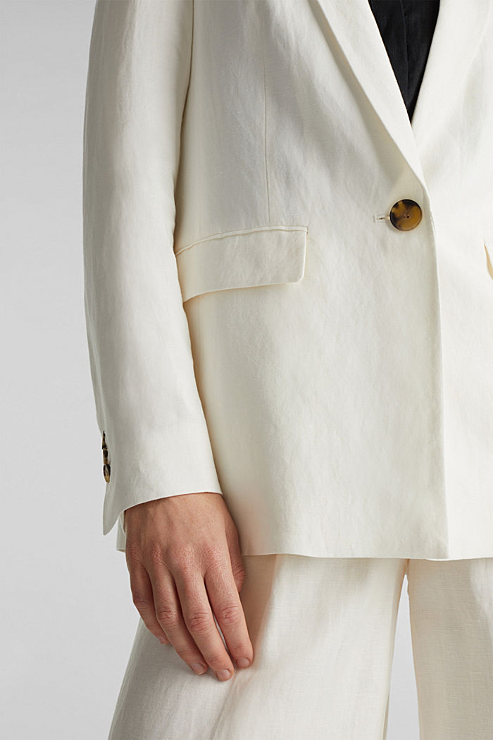 One-button blazer in blended linen, OFF WHITE, detail image number 2