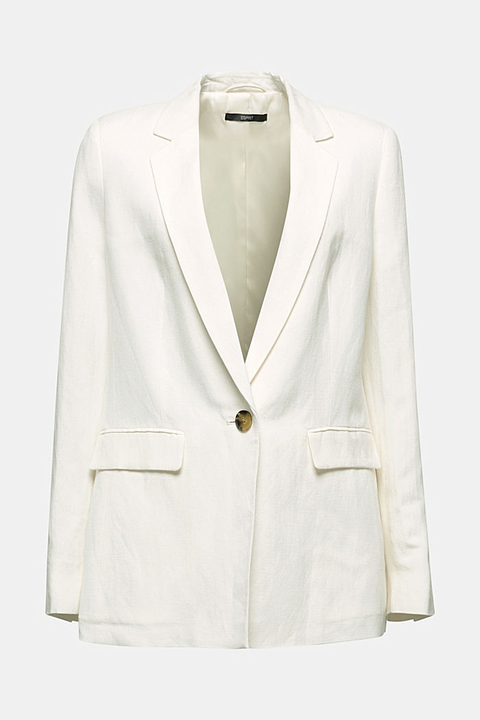 One-button blazer in blended linen