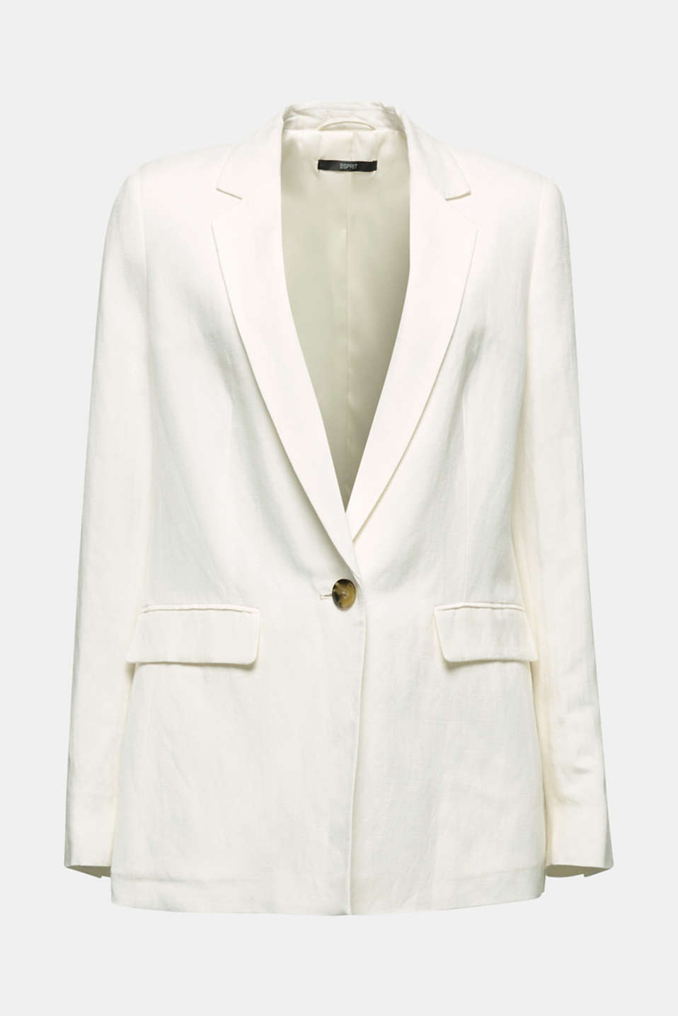 One-button blazer in blended linen, OFF WHITE, detail image number 5