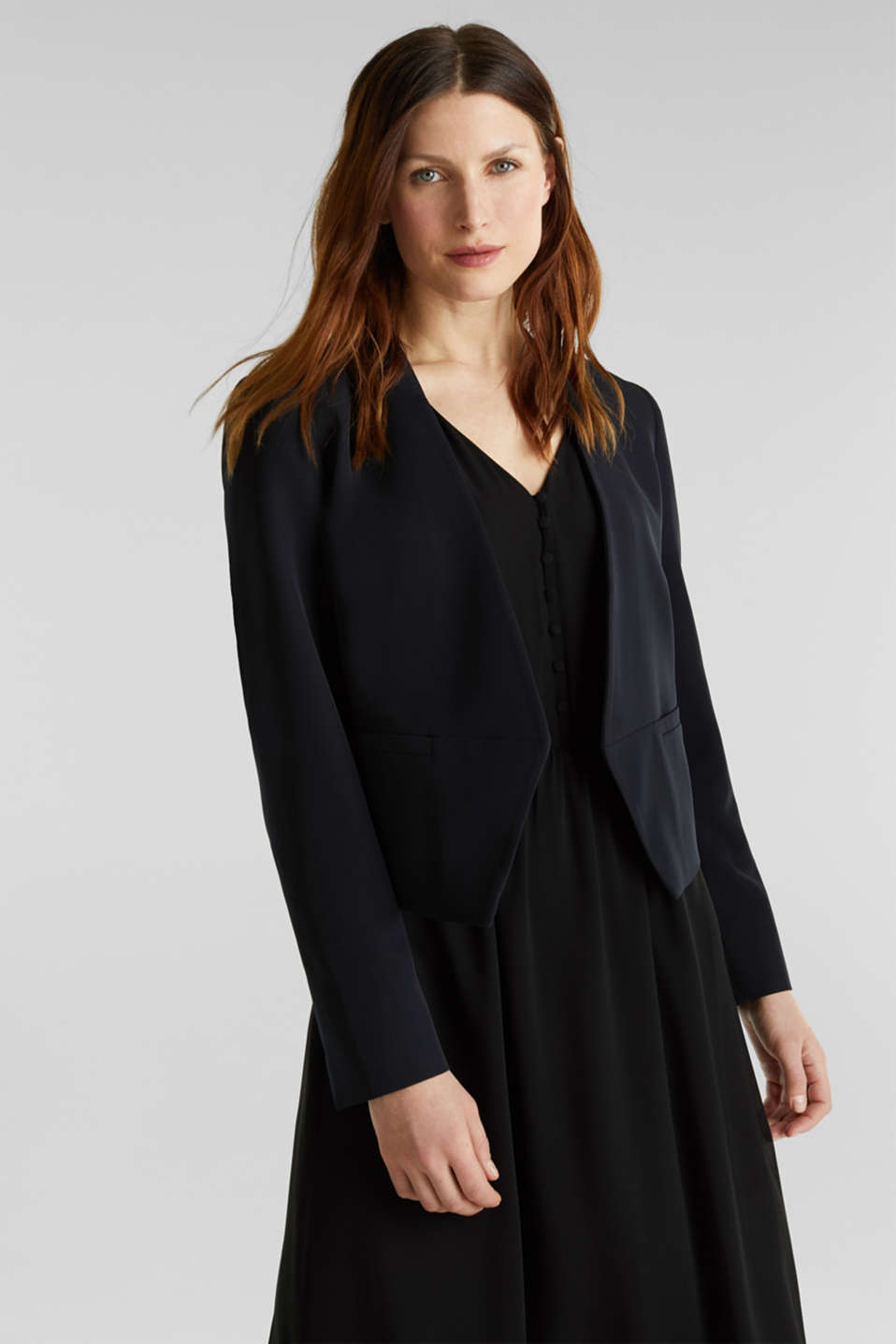 Stretch blazer with a back pleat, BLACK, detail image number 0