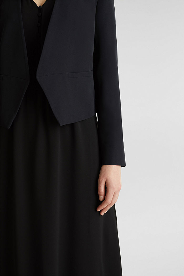 Stretch blazer with a back pleat, BLACK, detail image number 2