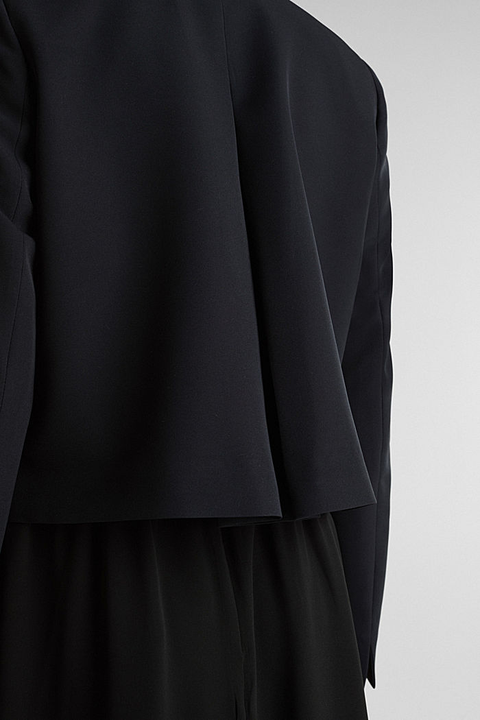 Stretch blazer with a back pleat, BLACK, detail image number 4