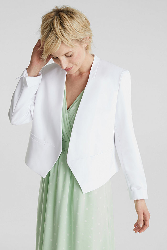 Stretch blazer with a back pleat, WHITE, detail image number 0