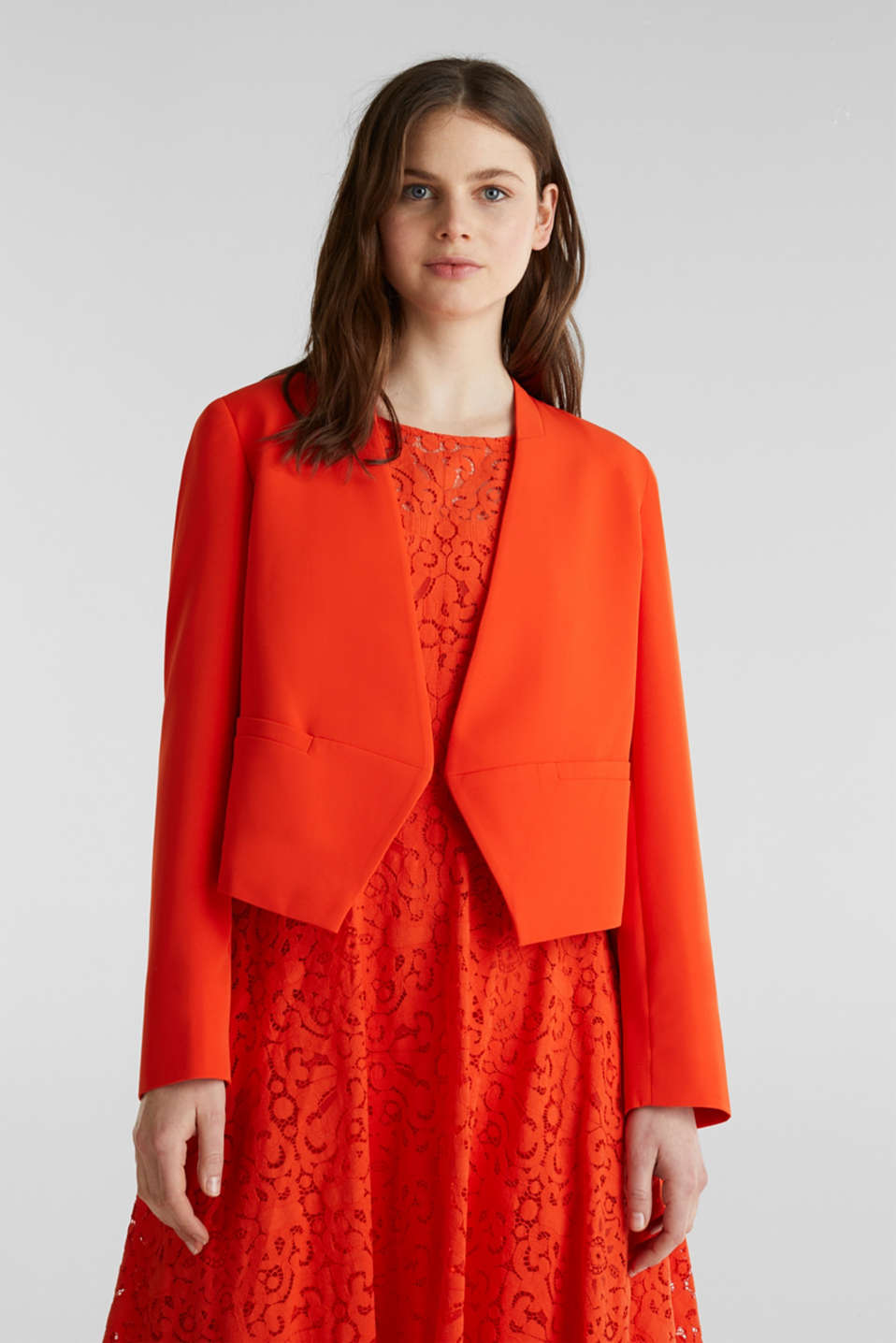 Stretch blazer with a back pleat, RED ORANGE, detail image number 0
