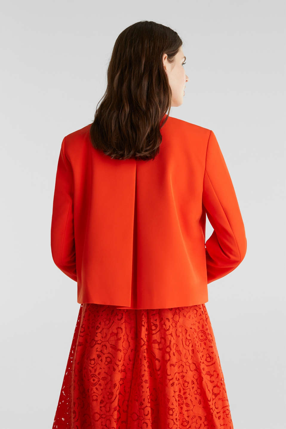 Stretch blazer with a back pleat, RED ORANGE, detail image number 2