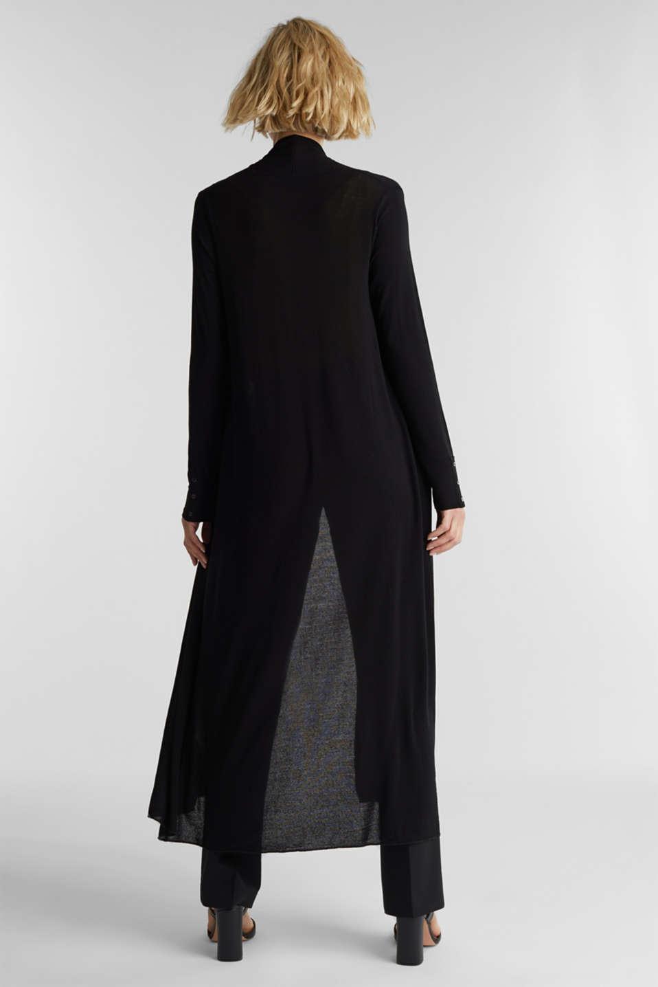 Flowing long jersey cardigan, BLACK, detail image number 2