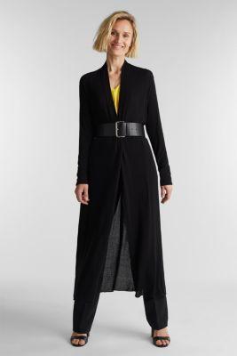 Flowing long jersey cardigan, BLACK, detail