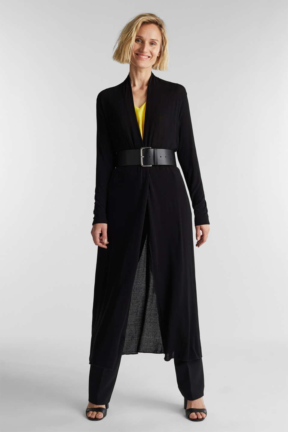 Flowing long jersey cardigan, BLACK, detail image number 1