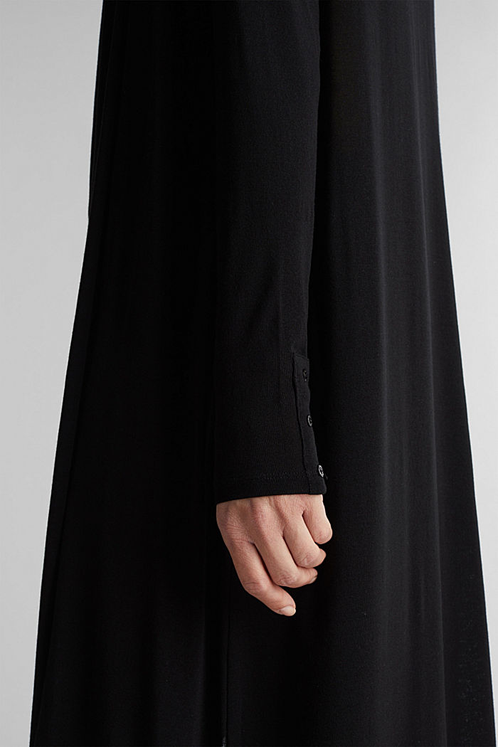 Flowing long jersey cardigan, BLACK, detail image number 2