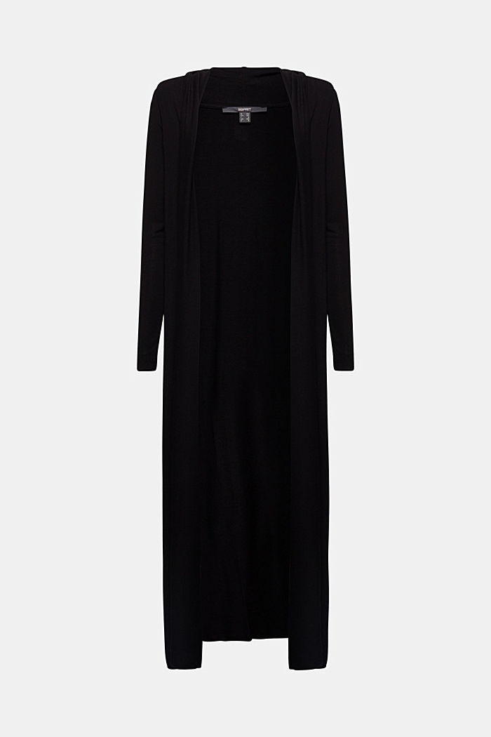 Flowing long jersey cardigan, BLACK, overview