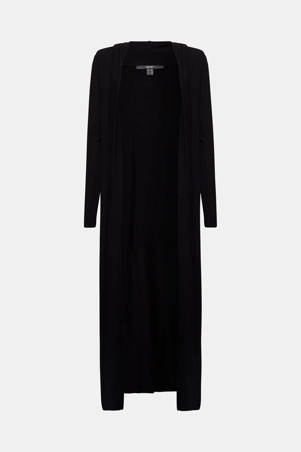 Flowing long jersey cardigan, BLACK, detail image number 5