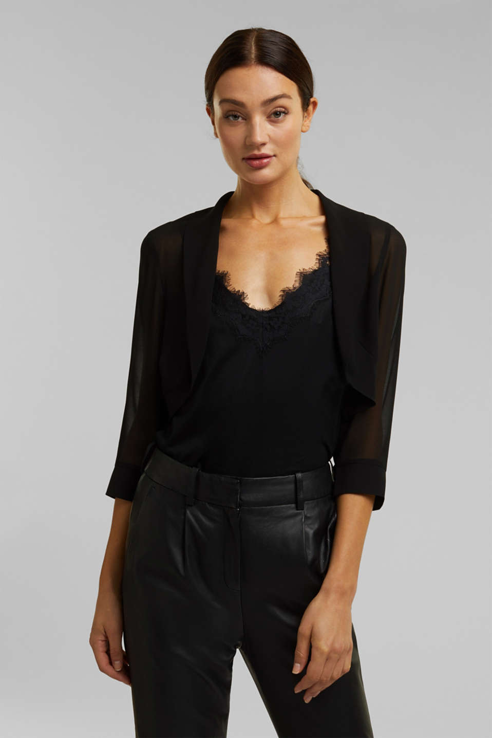 Esprit - Bolero made of recycled chiffon