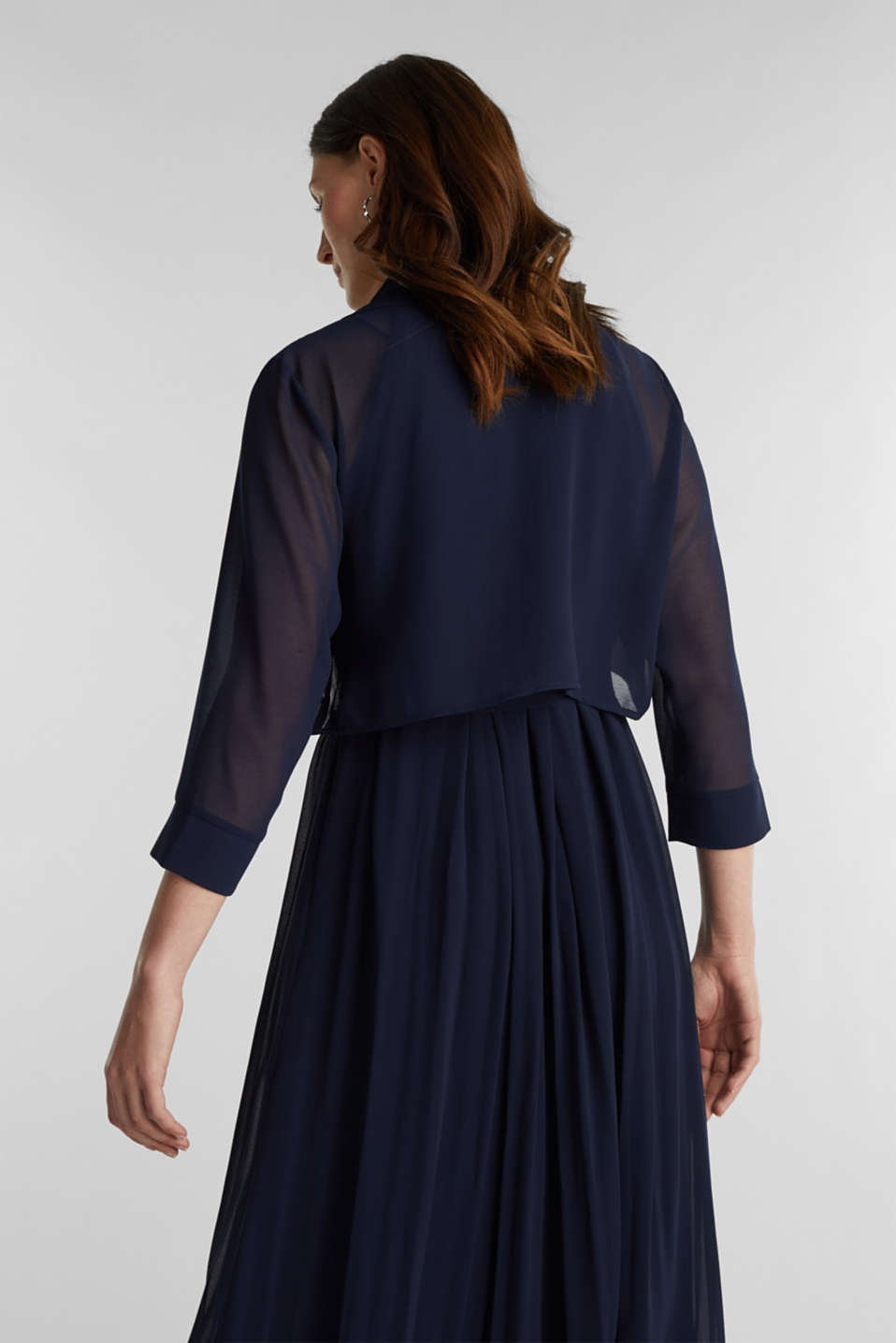 Bolero made of recycled chiffon, NAVY, detail image number 3