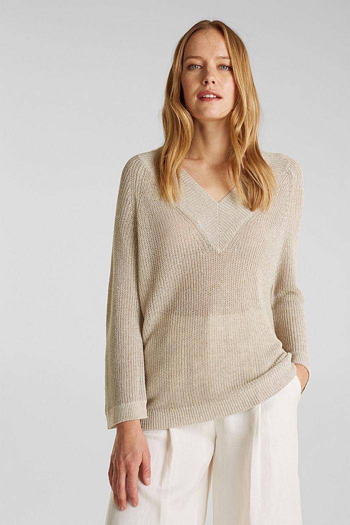 Delicate V-neck jumper with lace, BEIGE, detail image number 0