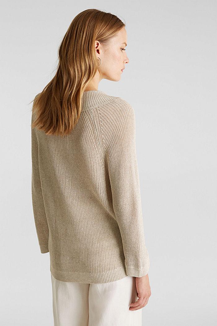 Delicate V-neck jumper with lace, BEIGE, detail image number 3