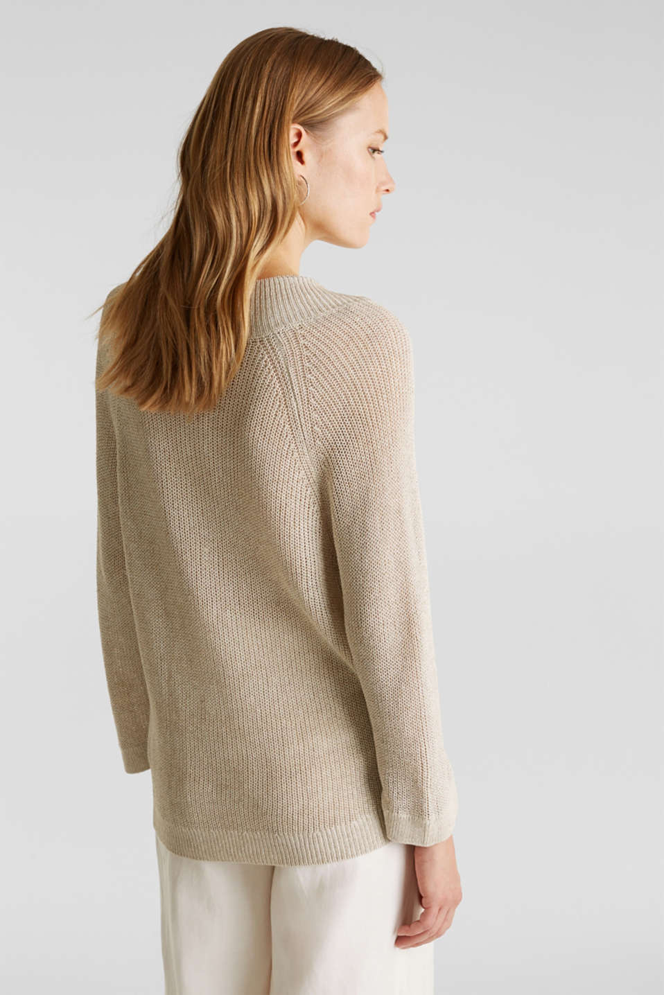 Delicate V-neck jumper with lace, BEIGE 5, detail image number 3