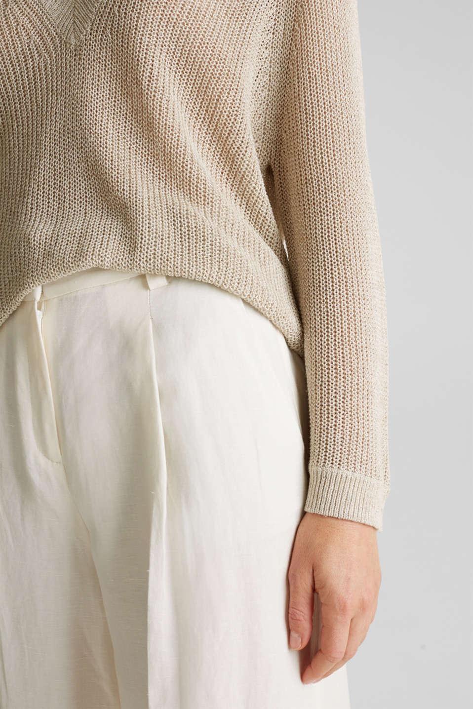 Delicate V-neck jumper with lace, BEIGE 5, detail image number 5