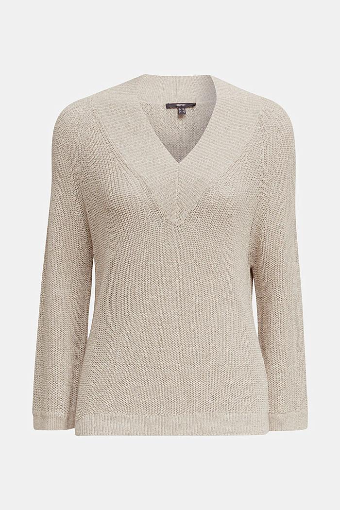 Delicate V-neck jumper with lace, BEIGE, detail image number 6