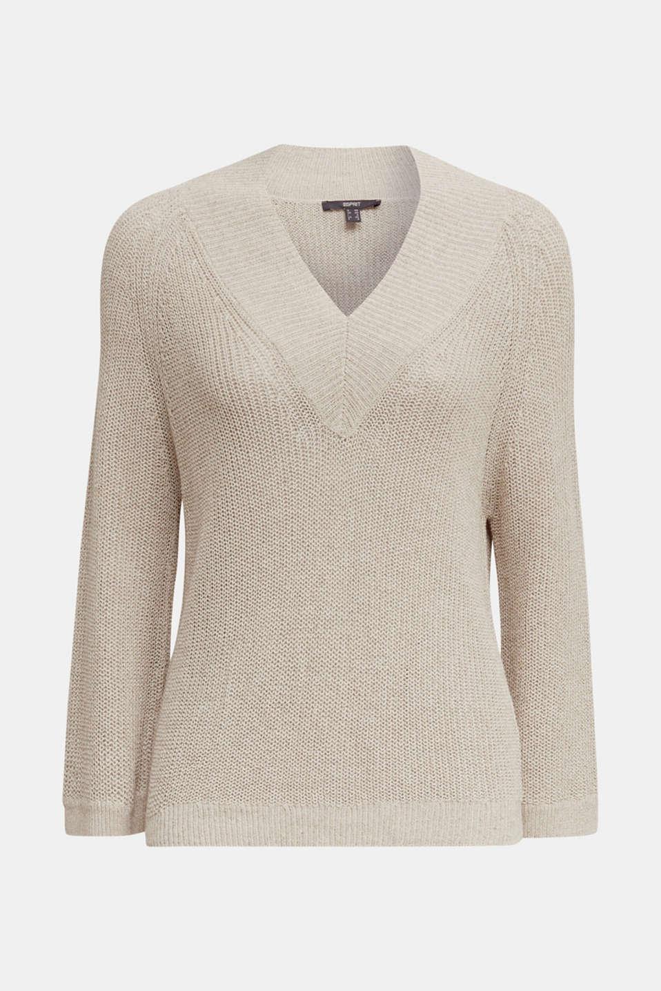 Delicate V-neck jumper with lace, BEIGE 5, detail image number 6