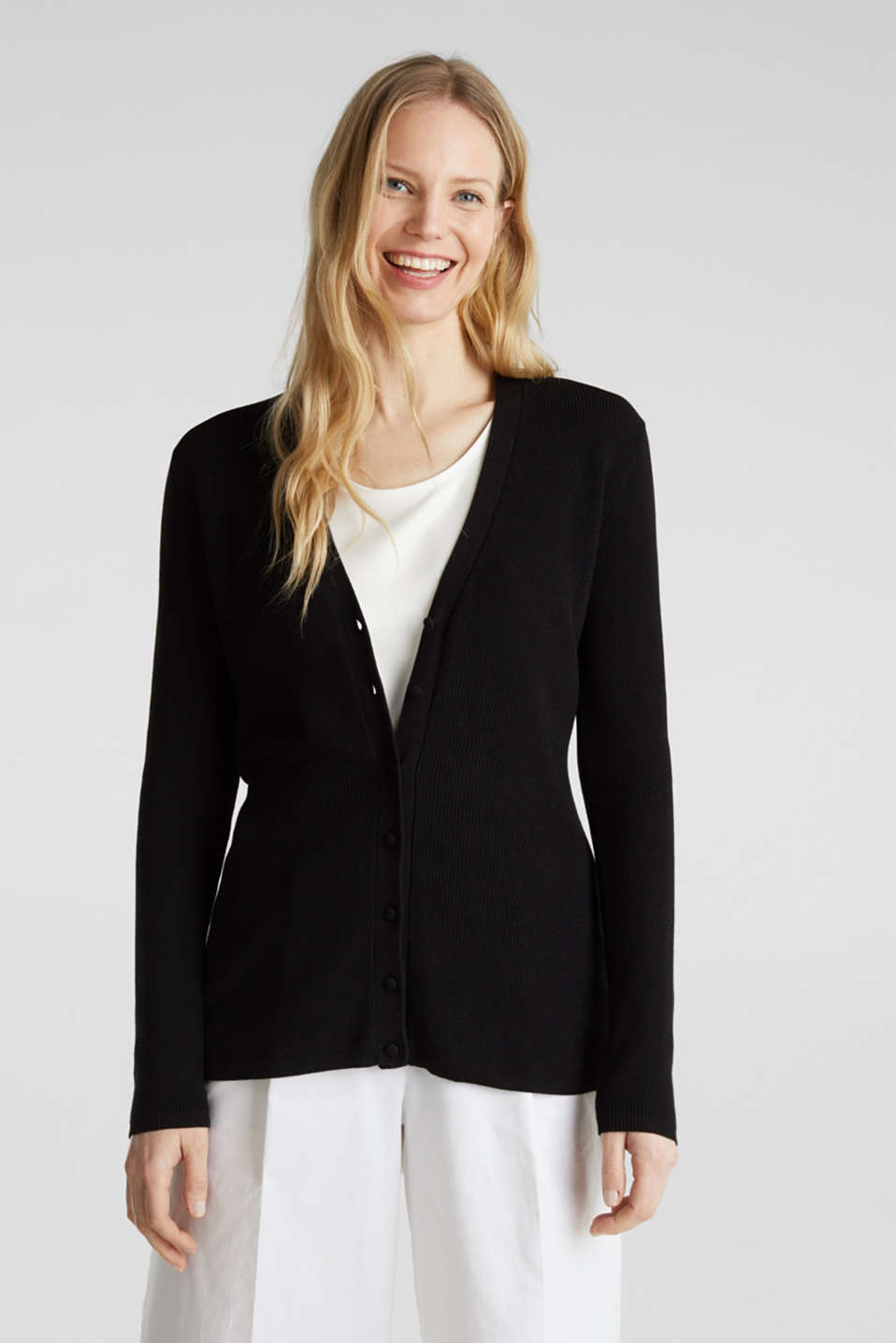 Esprit - Textured cardigan with TENCEL™