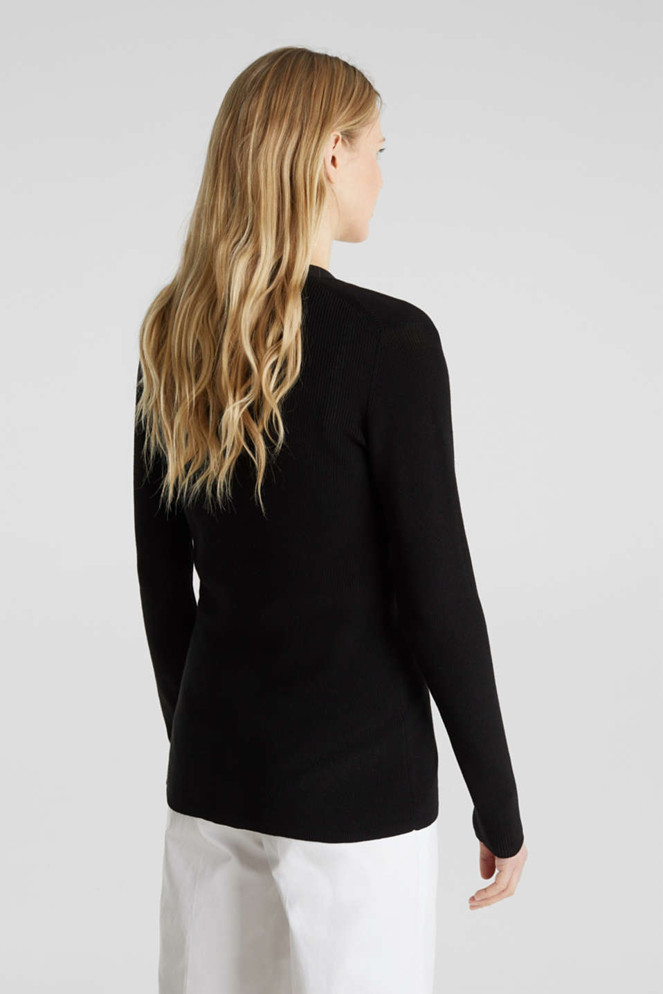 Textured knit cardigan with TENCEL™, BLACK, detail image number 3