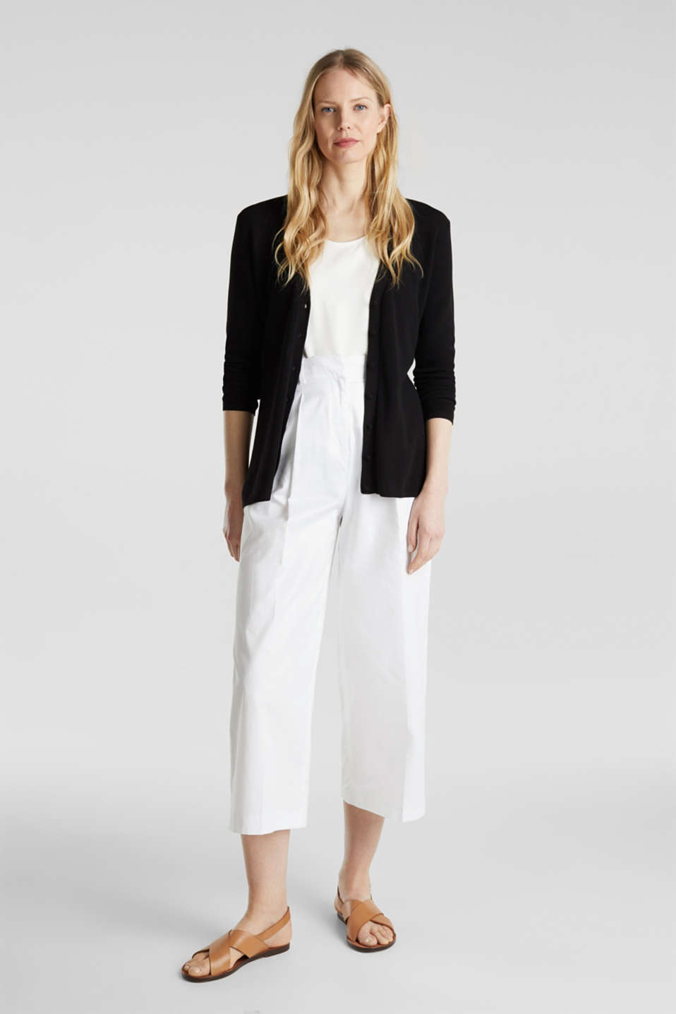 Textured knit cardigan with TENCEL™, BLACK, detail image number 1