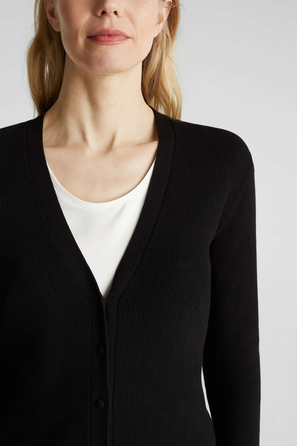 Textured cardigan with TENCEL™, BLACK, detail image number 2