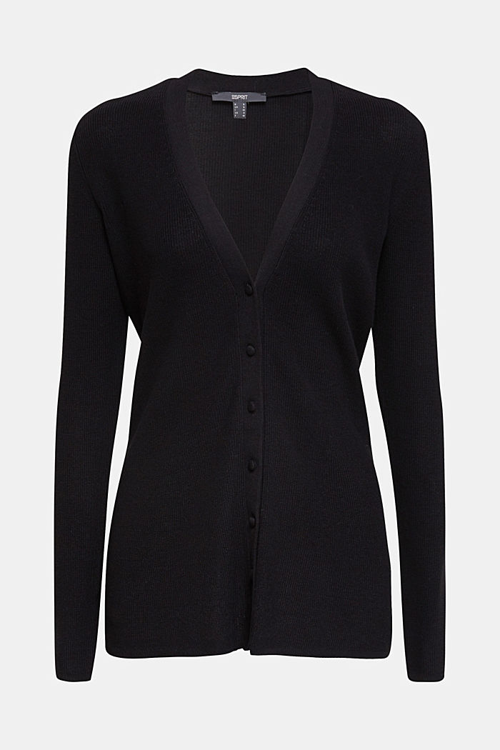 Textured cardigan with TENCEL™, BLACK, detail image number 5