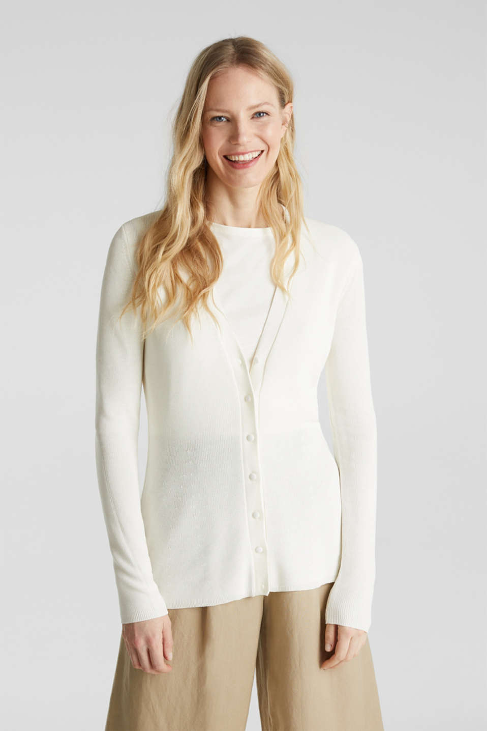 Textured cardigan with TENCEL™, OFF WHITE, detail image number 0