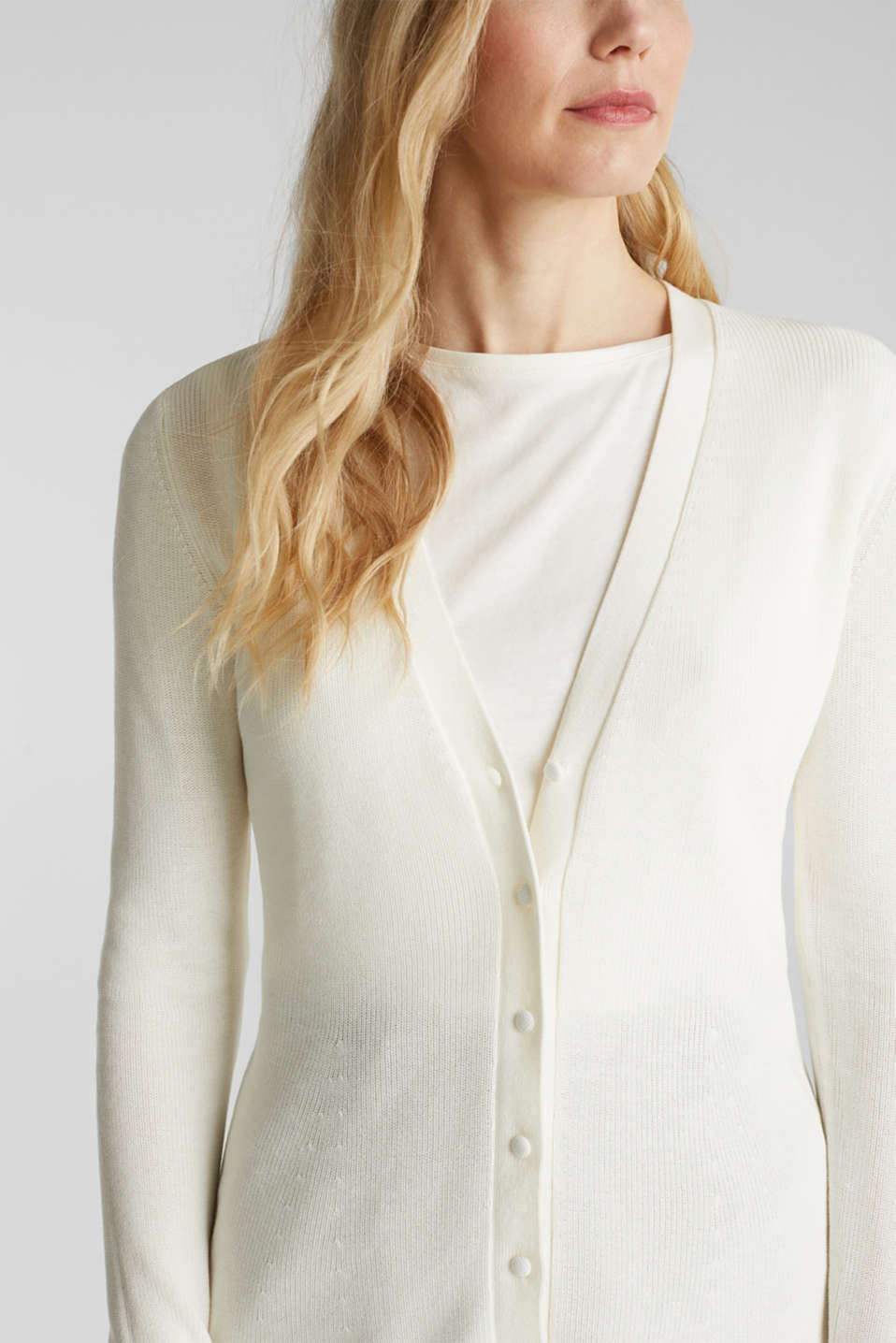 Textured cardigan with TENCEL™, OFF WHITE, detail image number 2