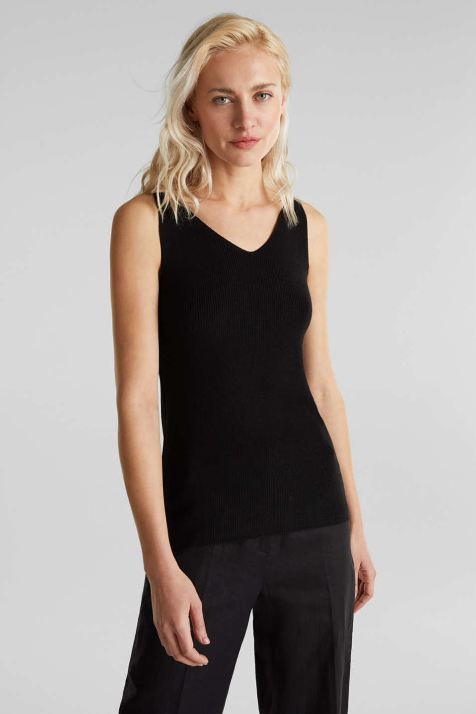 With TENCEL™: knitted V-neck top, BLACK, detail image number 0