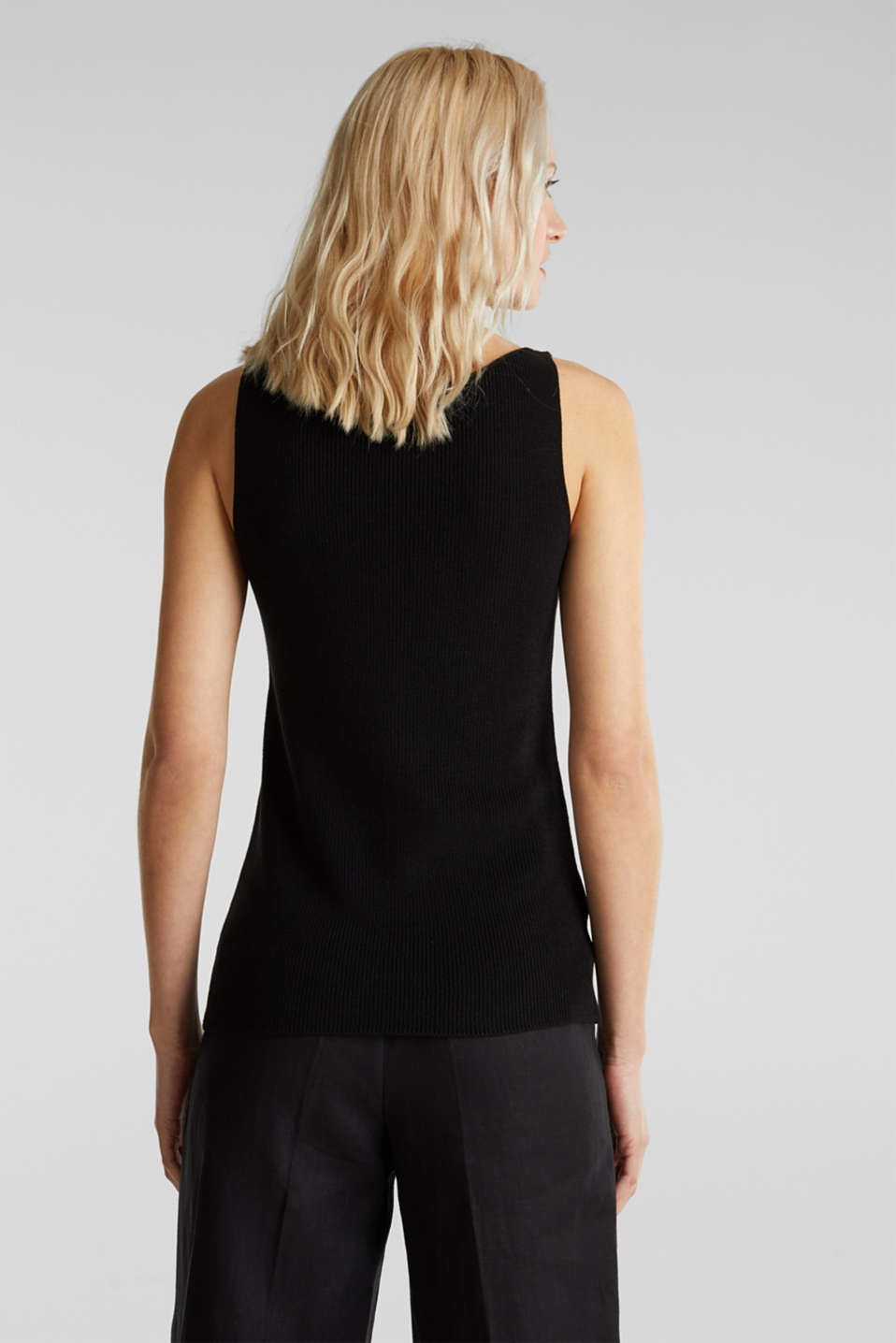 With TENCEL™: knitted V-neck top, BLACK, detail image number 3