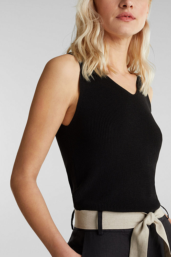 Knitted V-neck top With TENCEL™, BLACK, detail image number 2