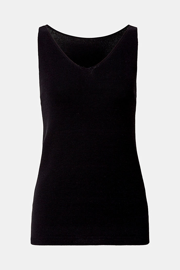 Knitted V-neck top With TENCEL™, BLACK, detail image number 5