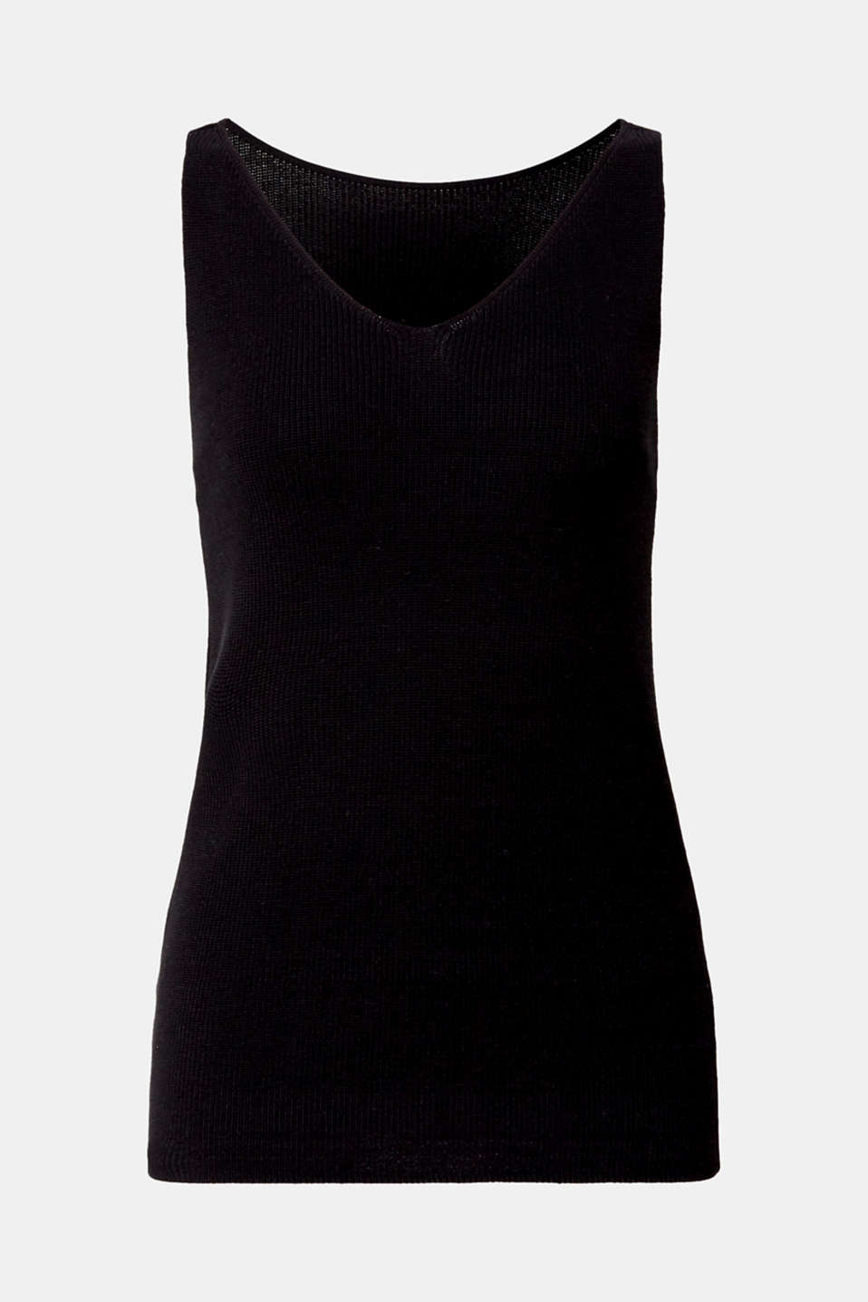 With TENCEL™: knitted V-neck top, BLACK, detail image number 5